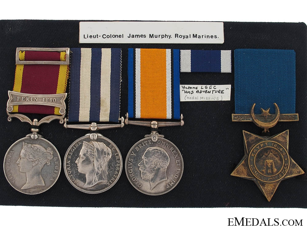 Four Campaign Medals to Lieutenant-Colonel James Murphy, Royal Marines
