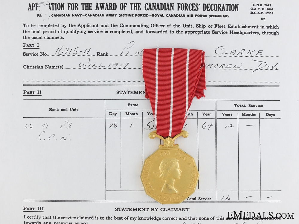 Canadian Forces Decoration to Pilot Officer Clarke Royal Canadian Navy