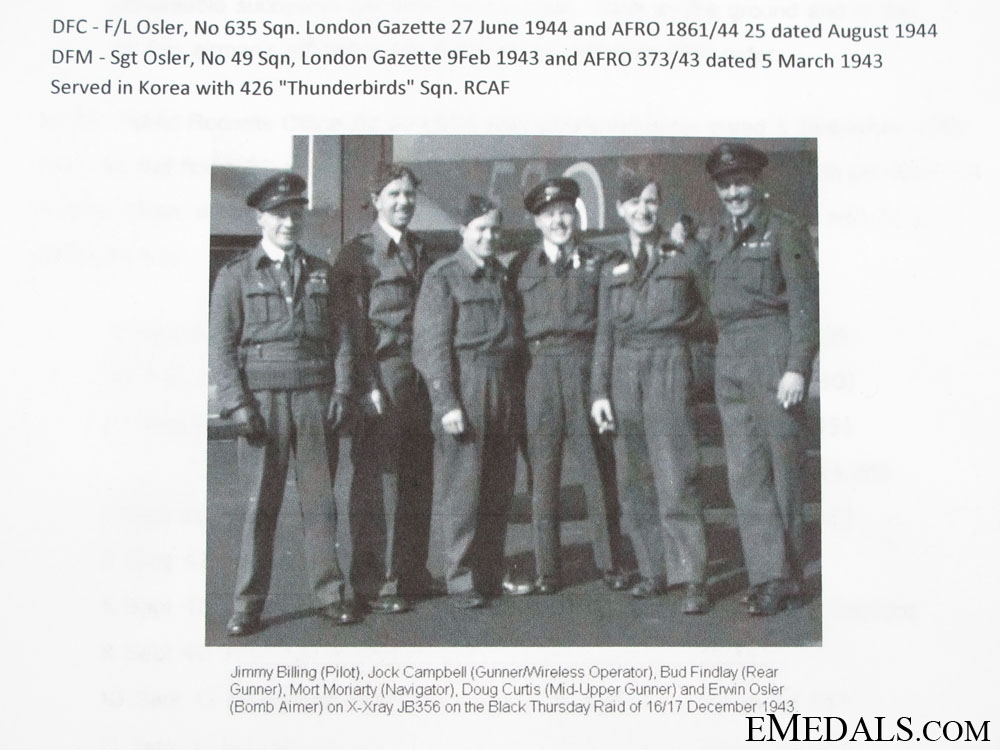 A Superb Canadian WWII DFC, DFM Group of Eleven to Erwin E. Osler