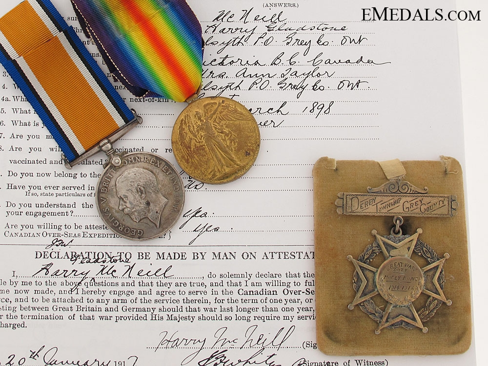 Pair & Private Award to the Canadian Mounted Rifles