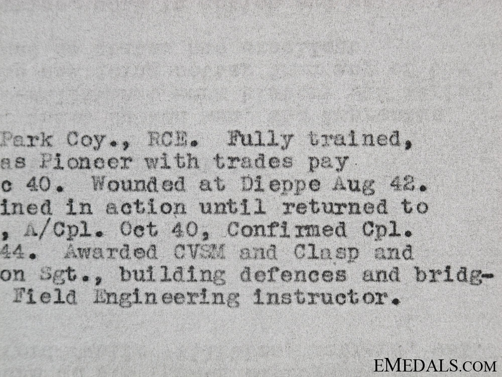 A Royal Canadian Engineers Dieppe Casualty Group