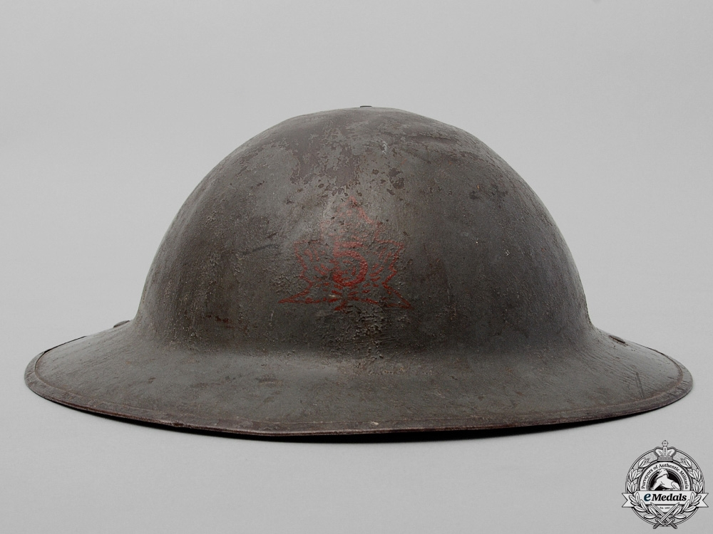 A Mark II 5th Canadian Mounted Rifle Battalion Helmet