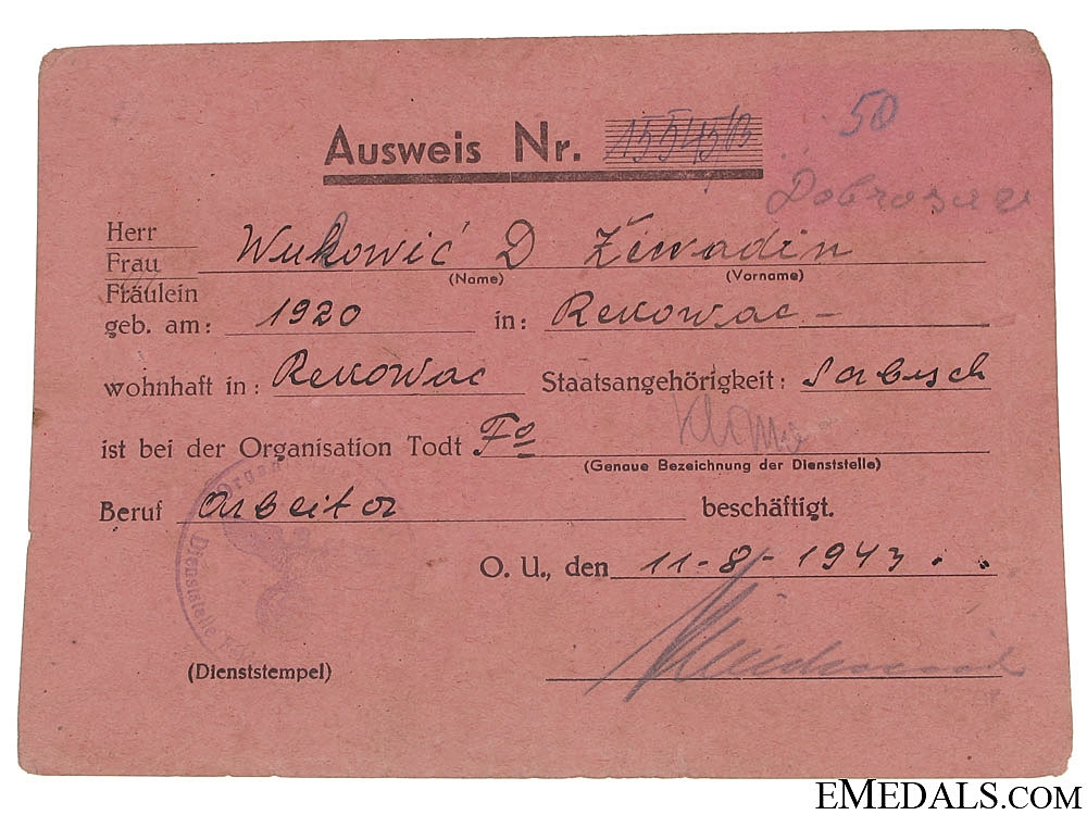 Employment Card for a Serbian in Org. TODT