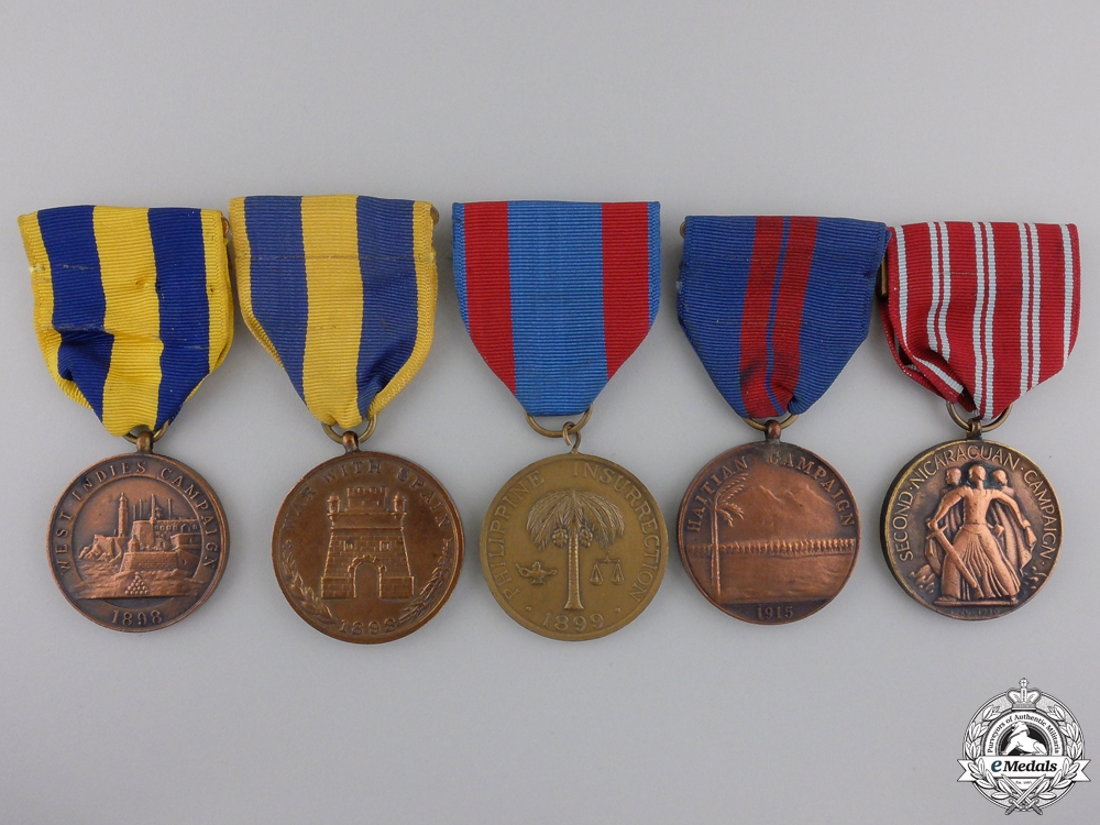Five American Campaign Medals