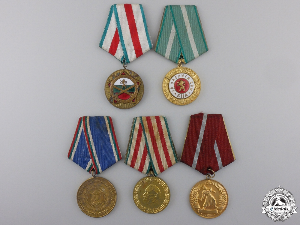 Five Bulgarian Army Medals and Awards