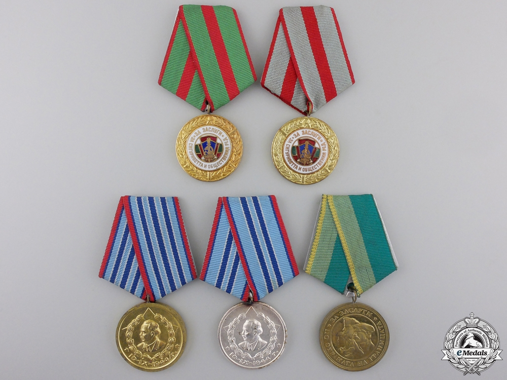 Five Bulgarian Security Forces Medals