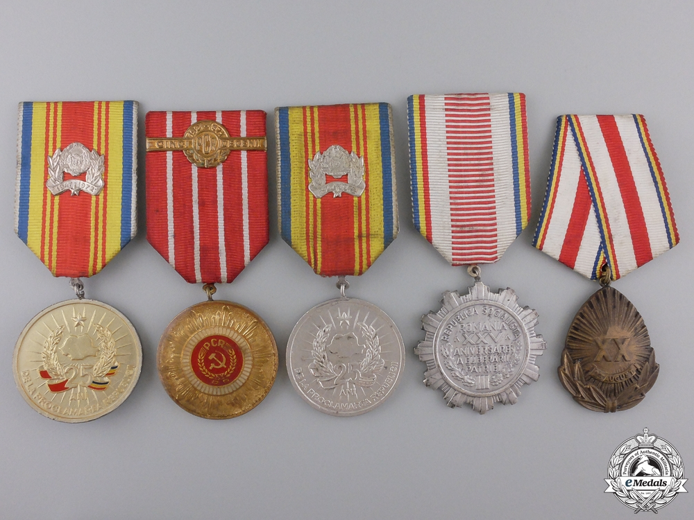 Five Romanian Socialist Medals and Awards Five Romanian Socialist Medals and Awards