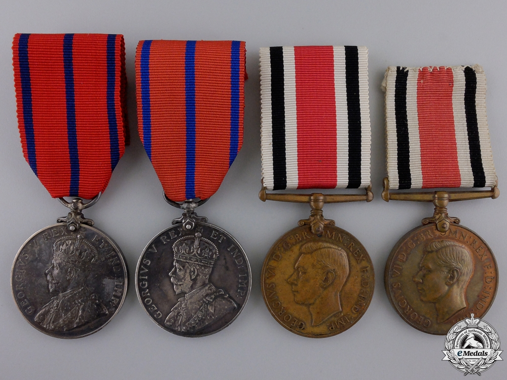 Four Constabulary Long Service and Coronation Medals