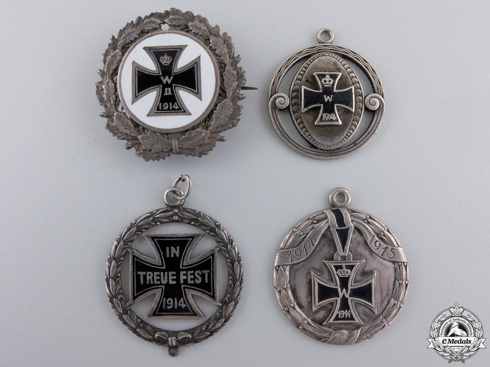 Four First War Iron Cross Medals & Pendents