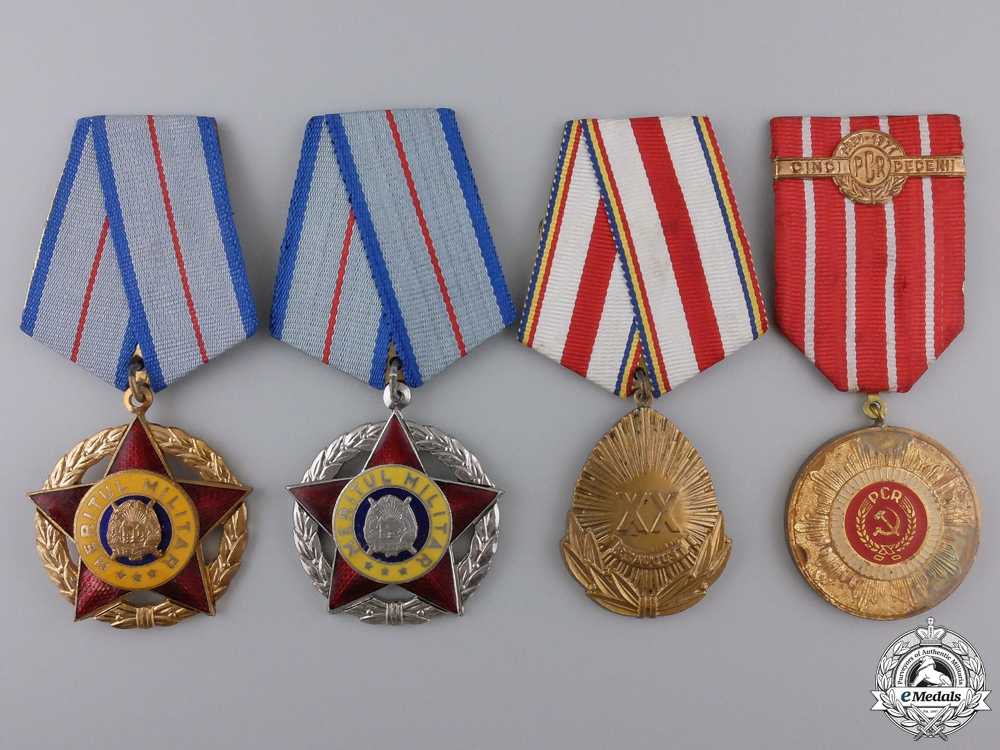 Four Romanian Socialist Orders, Medals and Awards