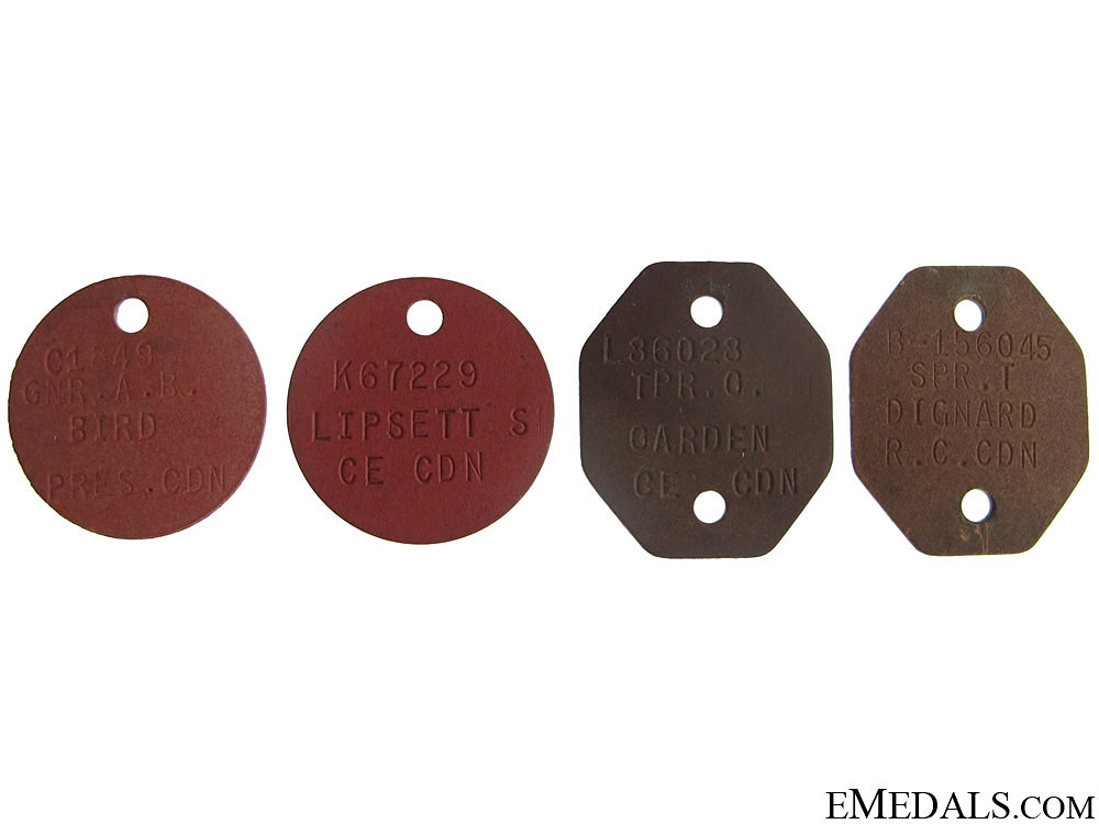 Four WWII Canadian Dog Tags