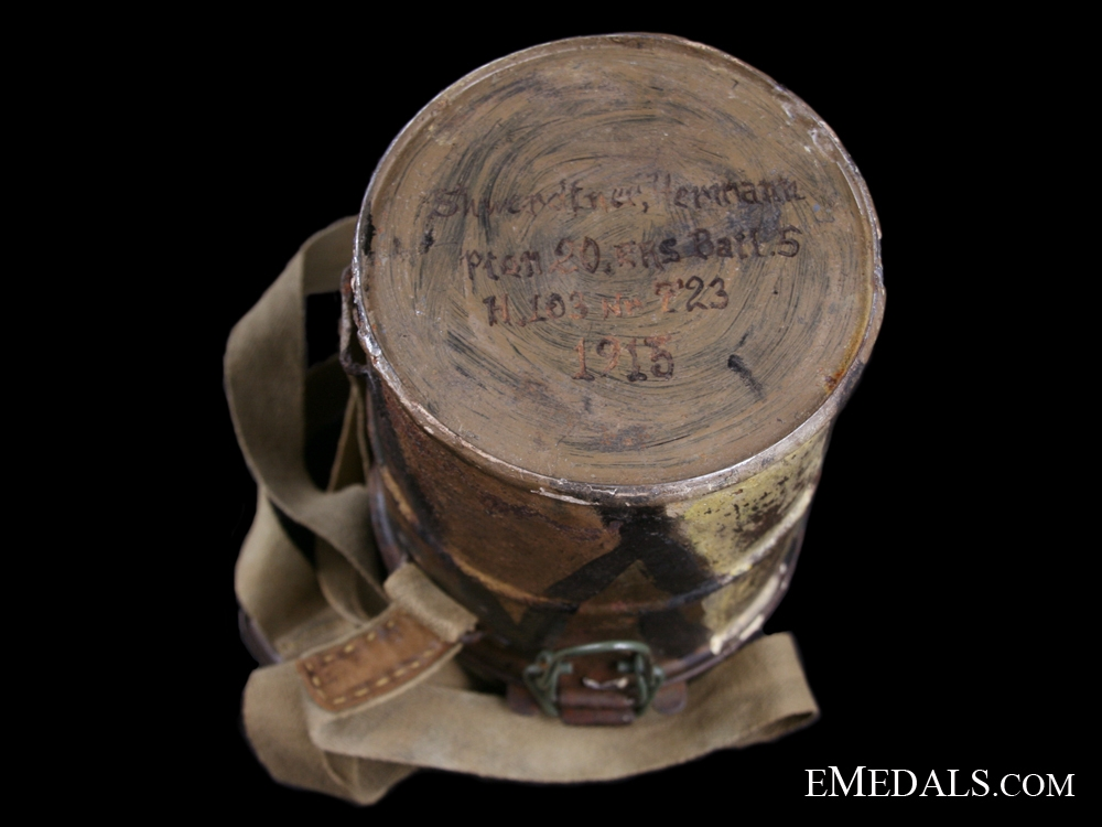 A First War German Camouflaged Gas Mask - Named