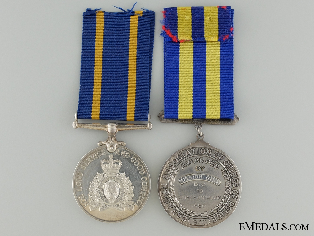 A Royal Canadian Mounted Police long Service Pair to F.J.W. Sauriol