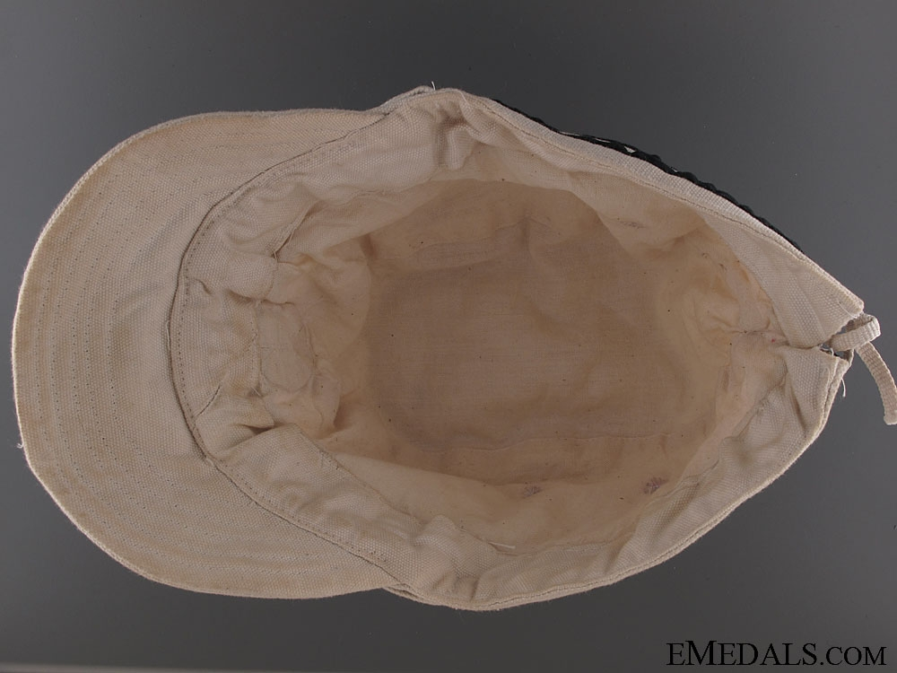 WWII Naval Officer's White Summer Side Cap