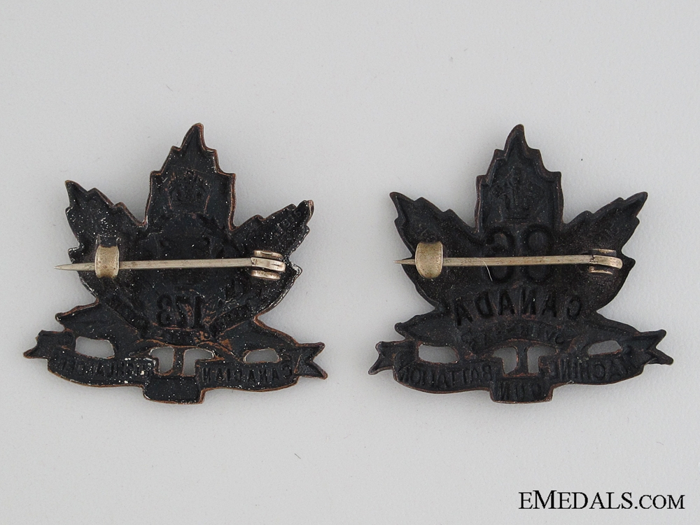 Two Hamilton Infantry Battalions Collar Tabs CEF