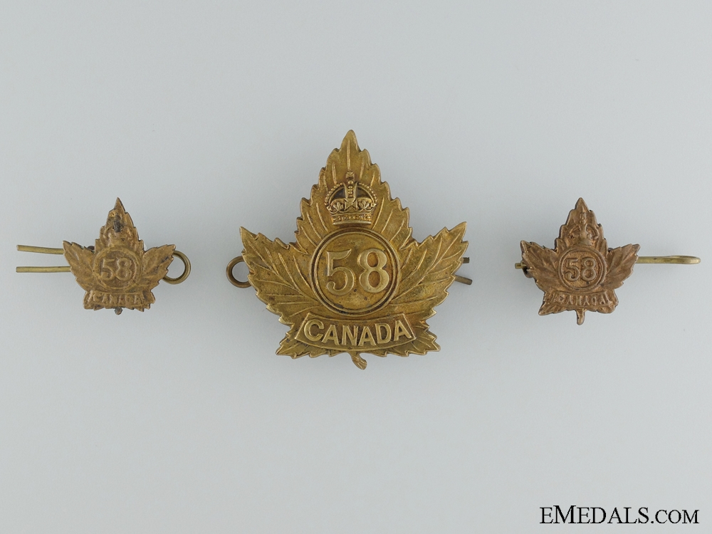 WWI 58th Infantry Battalion Officer's Cap Badge, Collar Tabs and Buttons