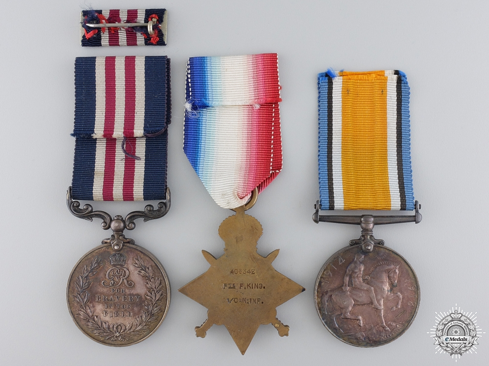 A Military Medal Group to Private King  who was Killed at Vimy