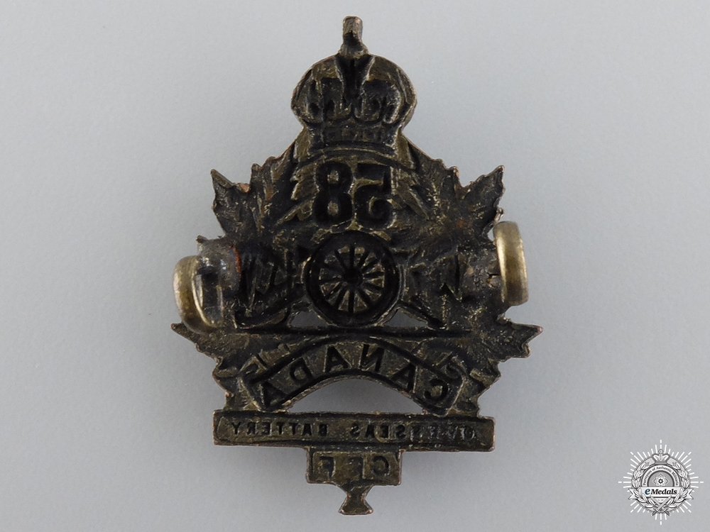 WWI Canadian 58th Overseas Field Battery Collar Badge consign 17