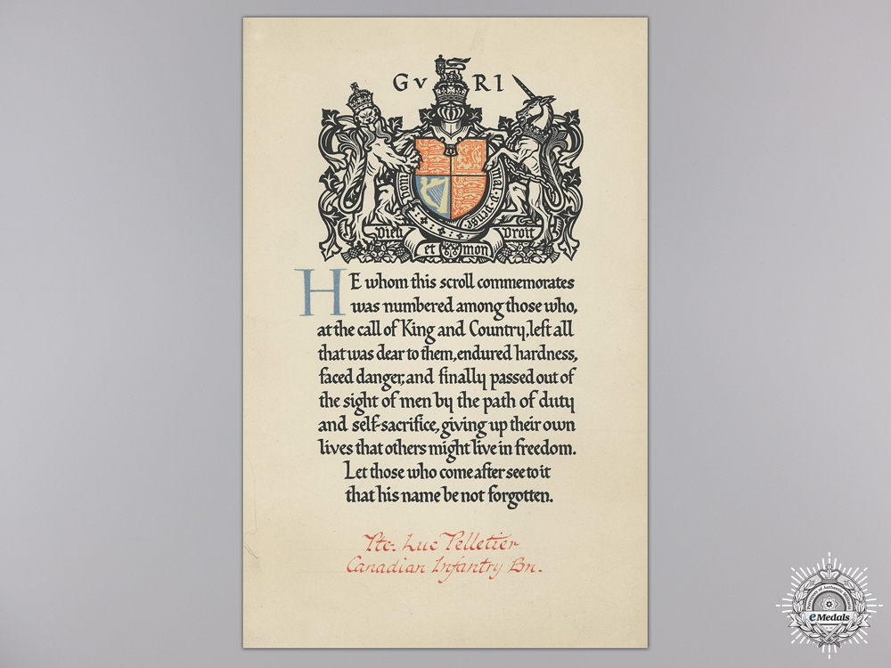 WWI Memorial Scroll and Sympathy Letter to the 22nd Infantry Battalion