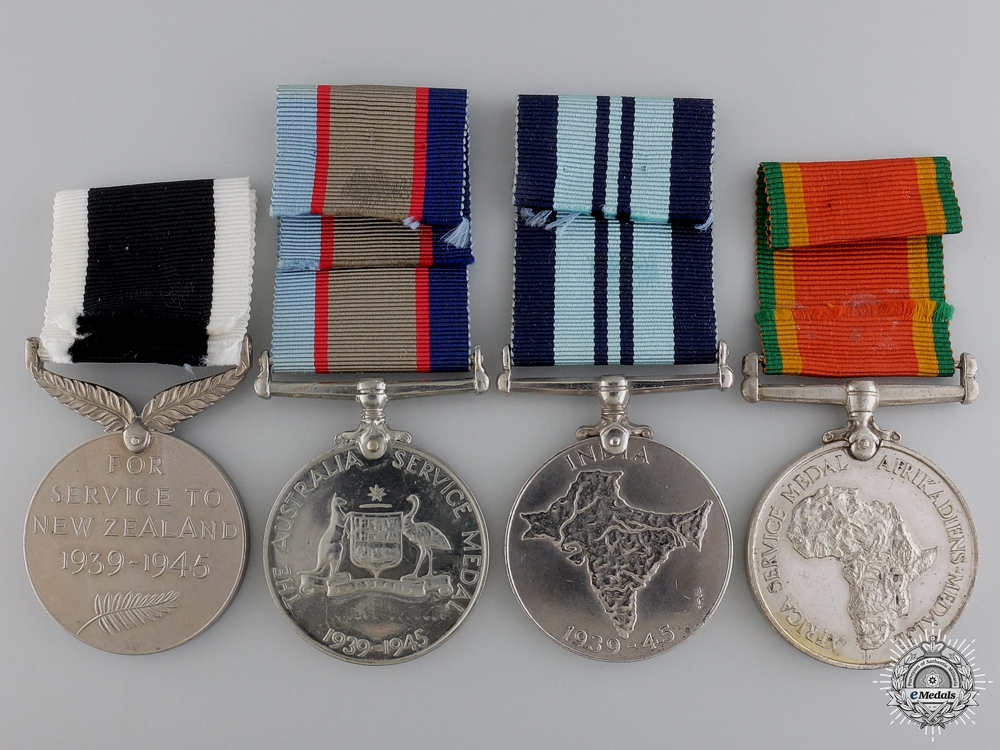 Four Second War Commonwealth Service Medals
