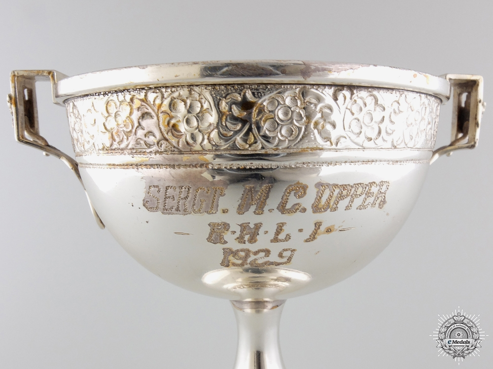 A 1929 Sterling Silver Royal Hamilton Light Infantry Award Cup