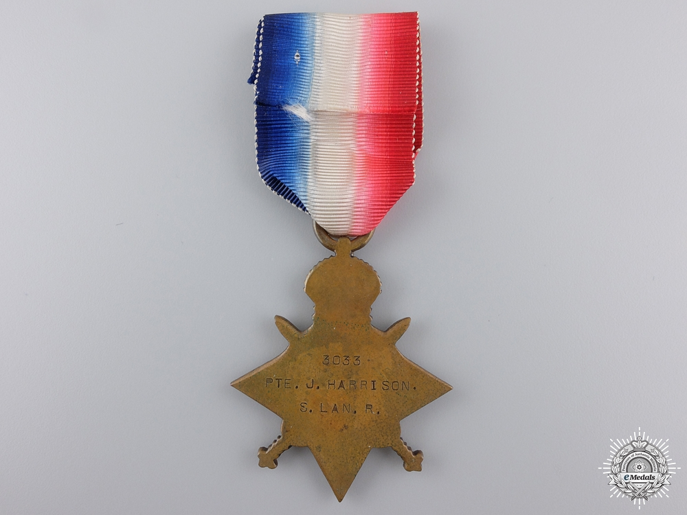 A 1914-15 Campaign Star to the South Lancashire Regiment