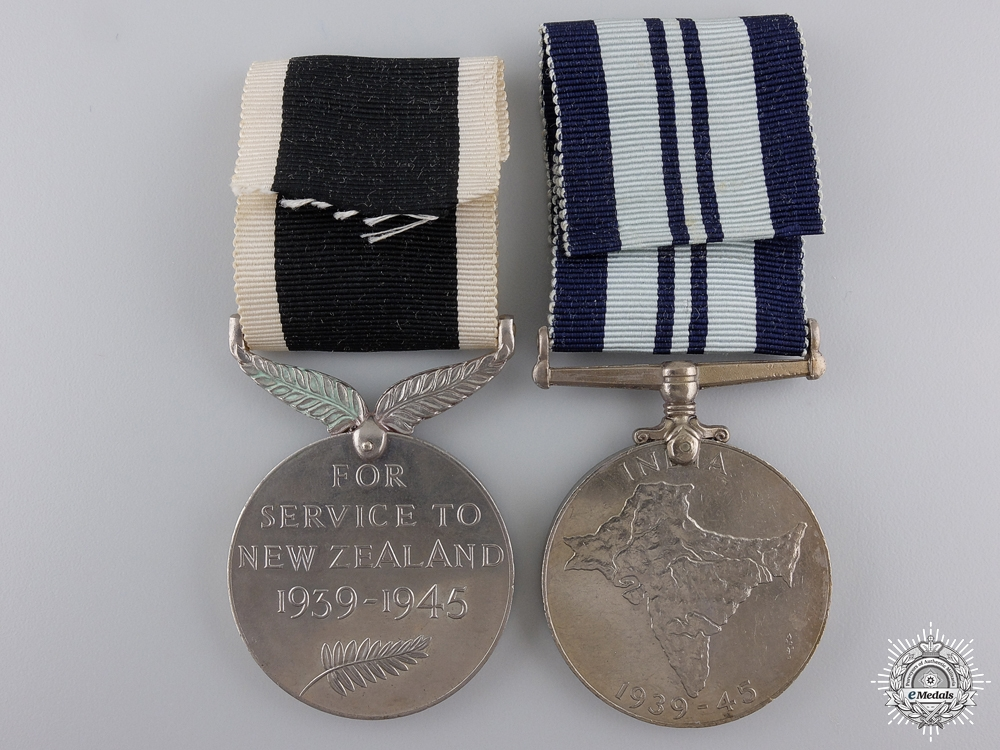 Two Second War Service Medals; India & New Zealand