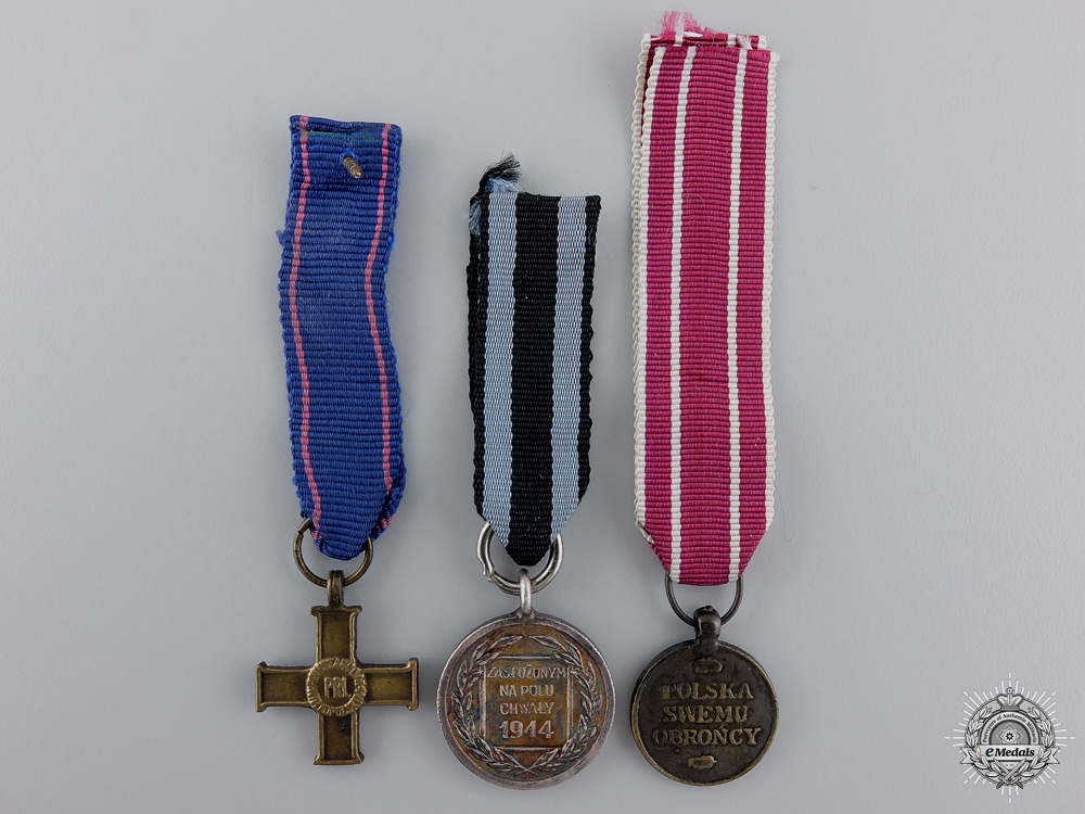 Three Miniature Polish Awards and Medals