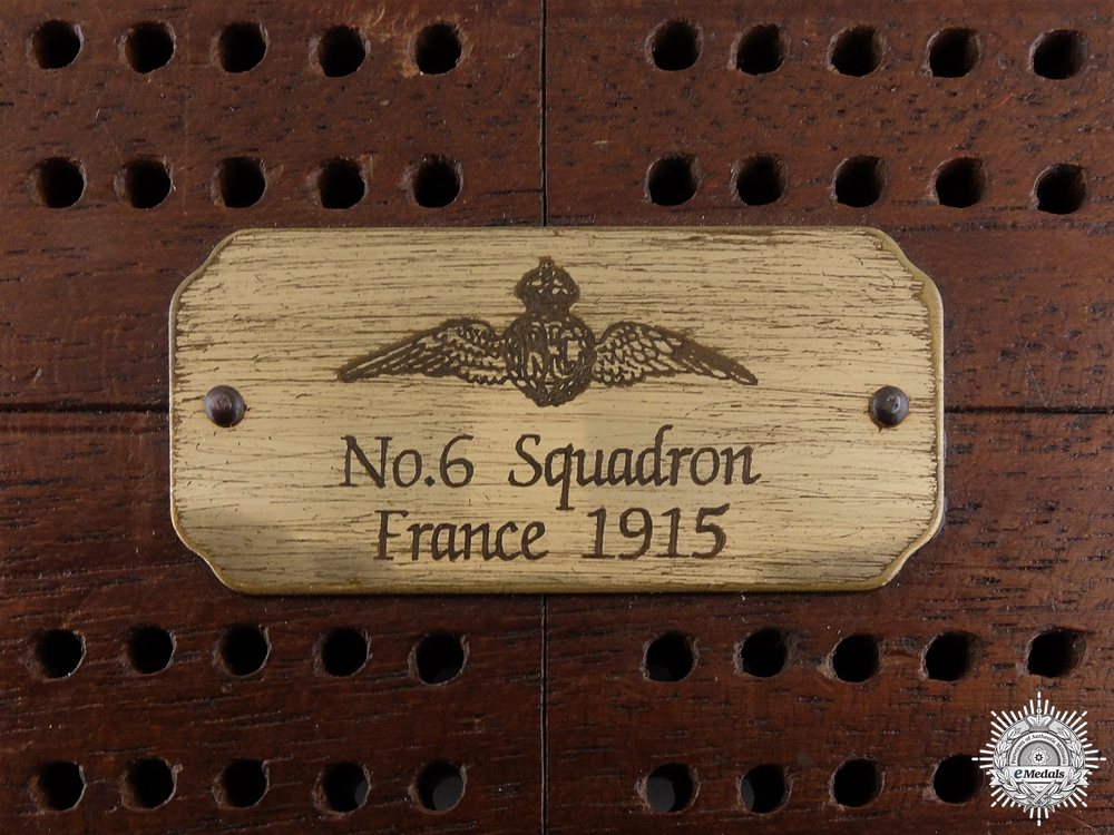 A First War Royal Flying Corps (RFC) No. 6 Squadron Cribbage Board