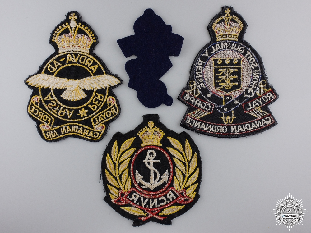 Four Second War Royal Canadian Navy Armed Forces Jacket Patches