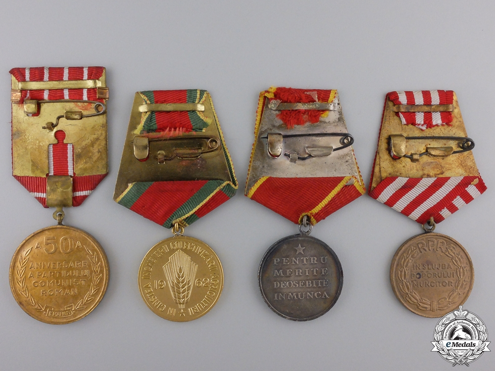 Four Romanian Socialist Medals and Awards