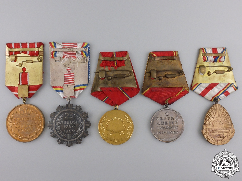Five Romanian Socialist Medals and Awards