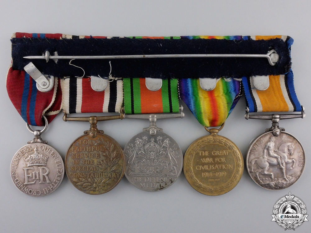 A First War & Constabulary Medal Bar to the East Lancashire Regiment