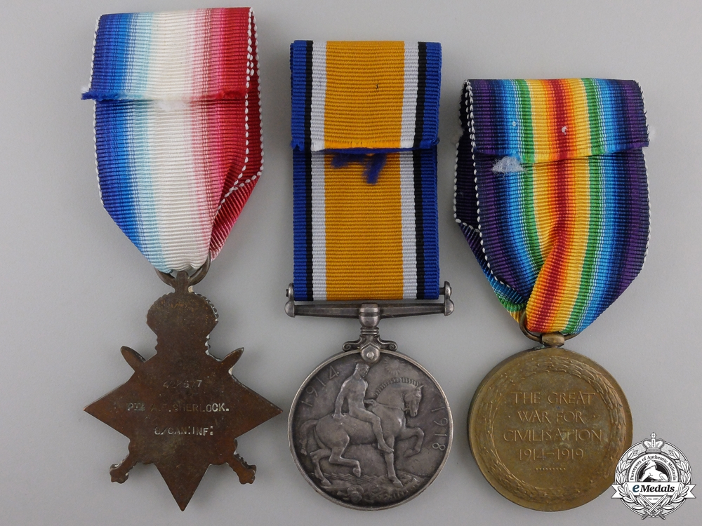 A First War Canadian Medal Trio to the Little Black Devils