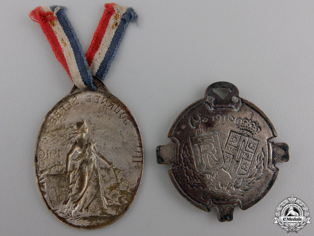 Two 1916 French - Serbian Tribute Medals