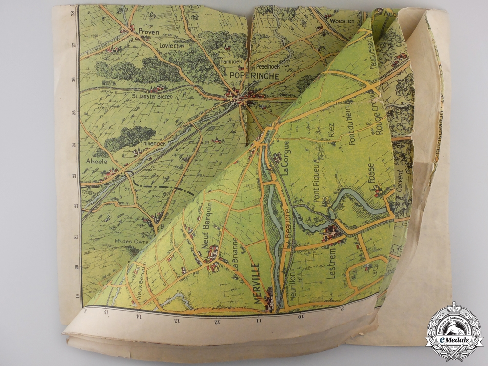 A First War Trench Map Named to Lieut. McNair, 1st Canadian