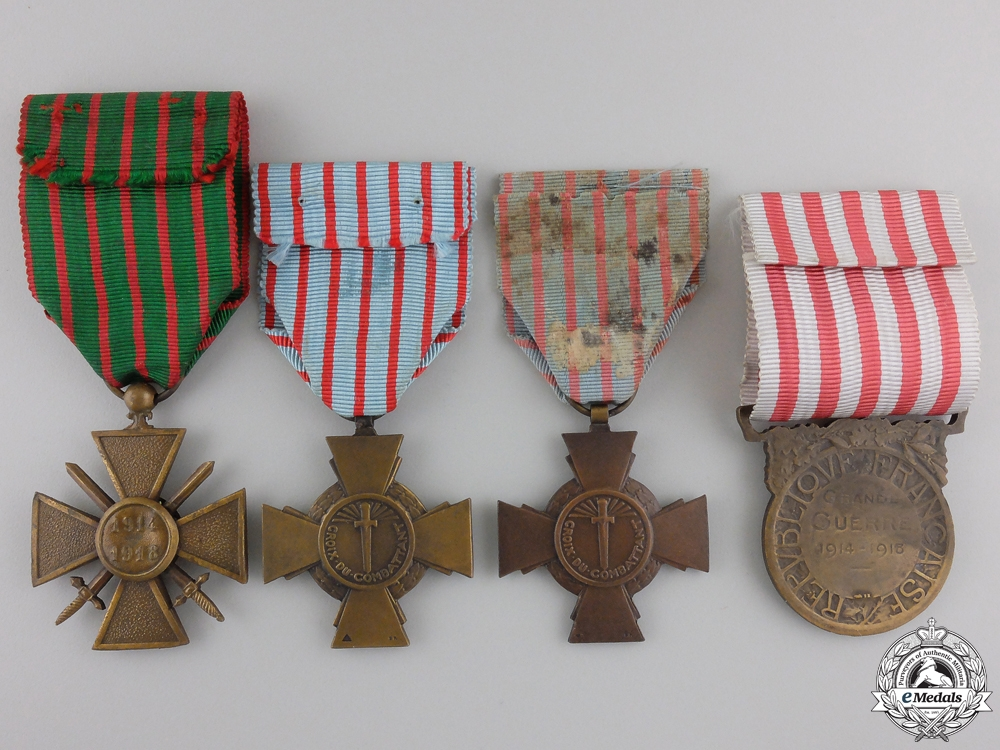Four French First & Second War Medals and Awards
