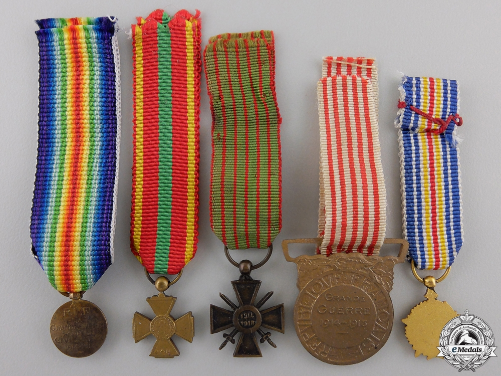 Five Miniature French First War Medals & Awards