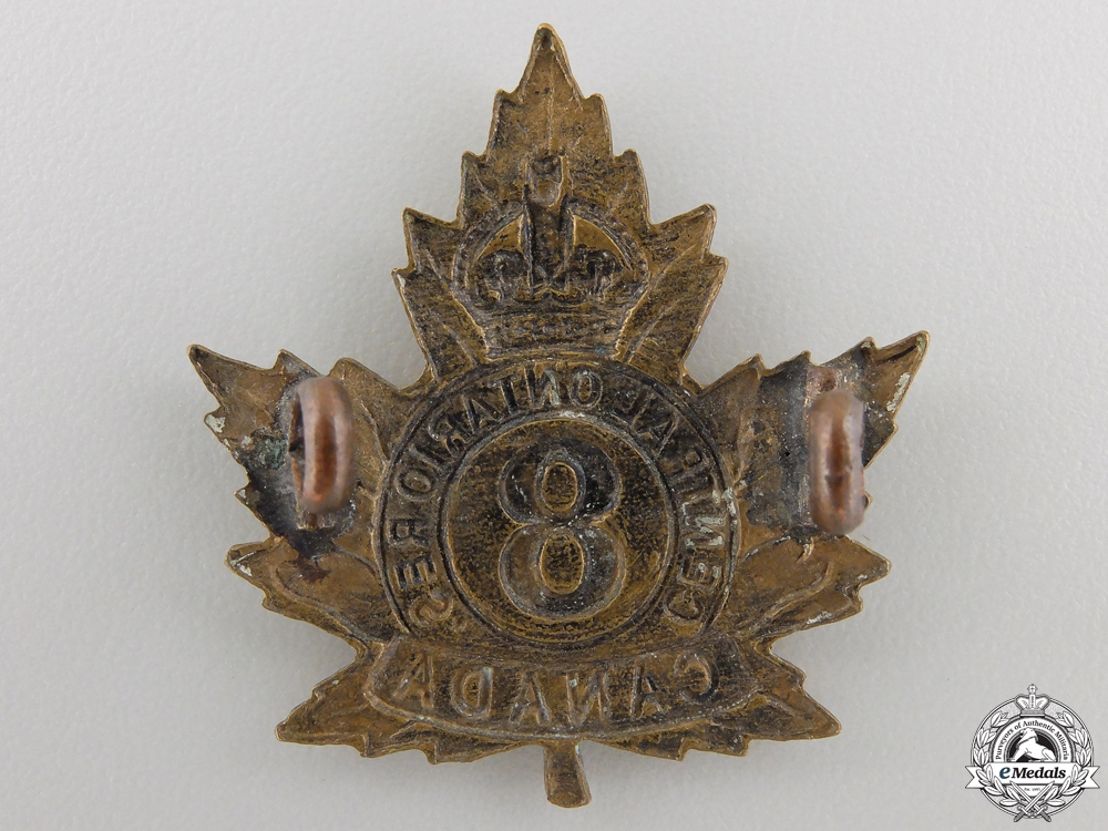 """A First War 8th Battalion """"Central Ontario Reserve"""" Cap Badge"""