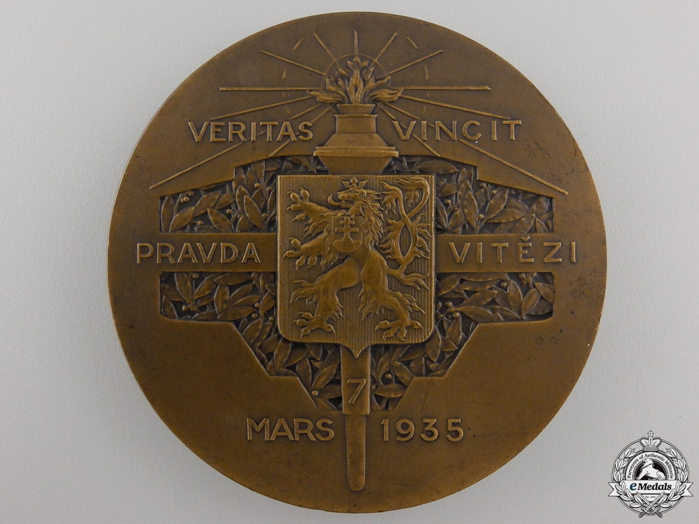 A 1935 President Masaryk Table Medal; Bronze