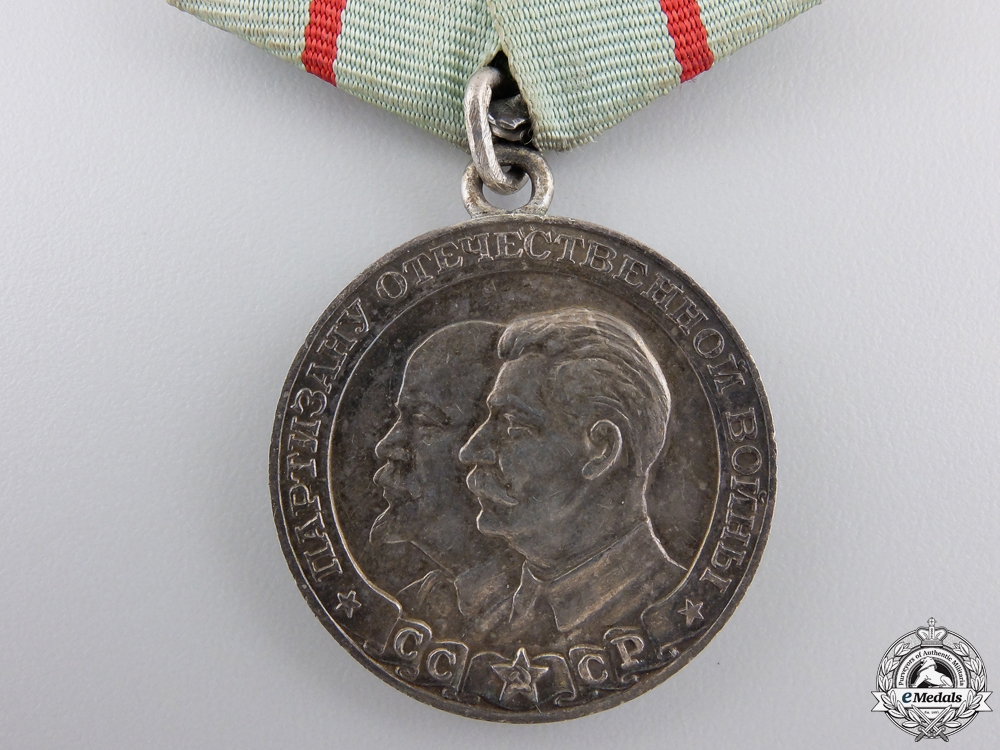 A Soviet Medal for a Partisan of the Patriotic War; 1st Class