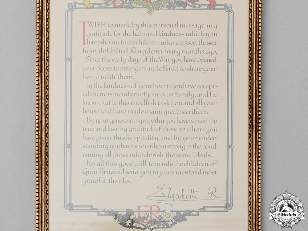 A Second War British Thank You Letter to Canada