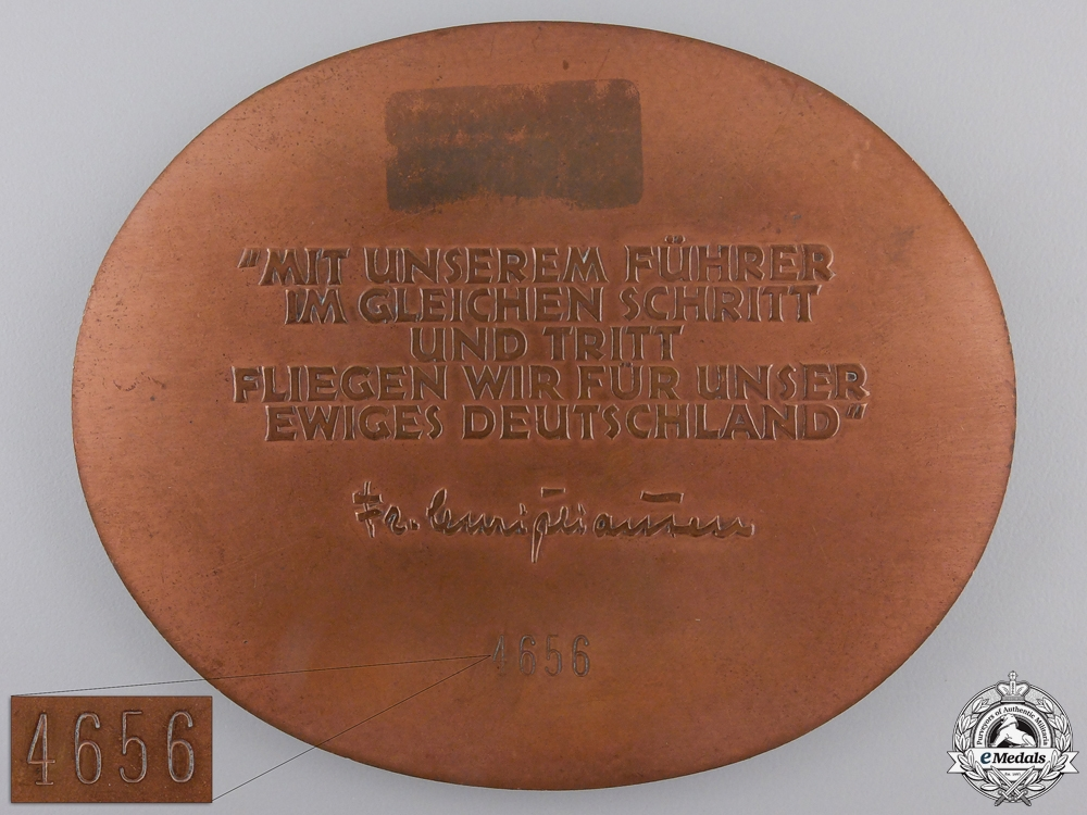 A 1938 NSFK Air Rally Table Medal; Numbered