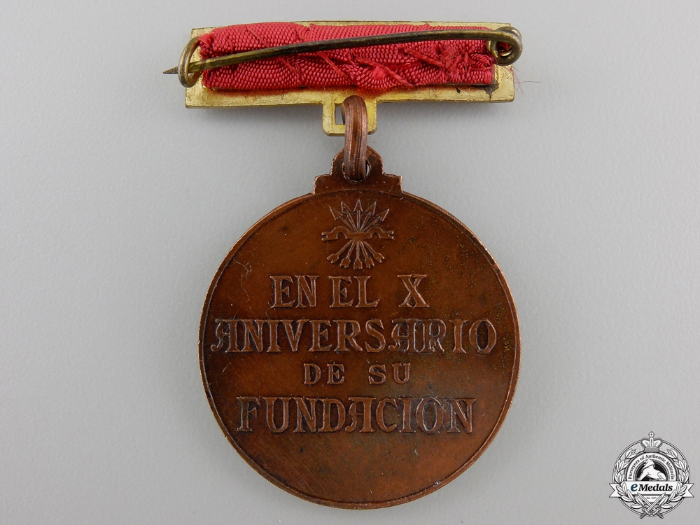 A Spanish Falange Tenth Anniversary of the Women's Division Medal
