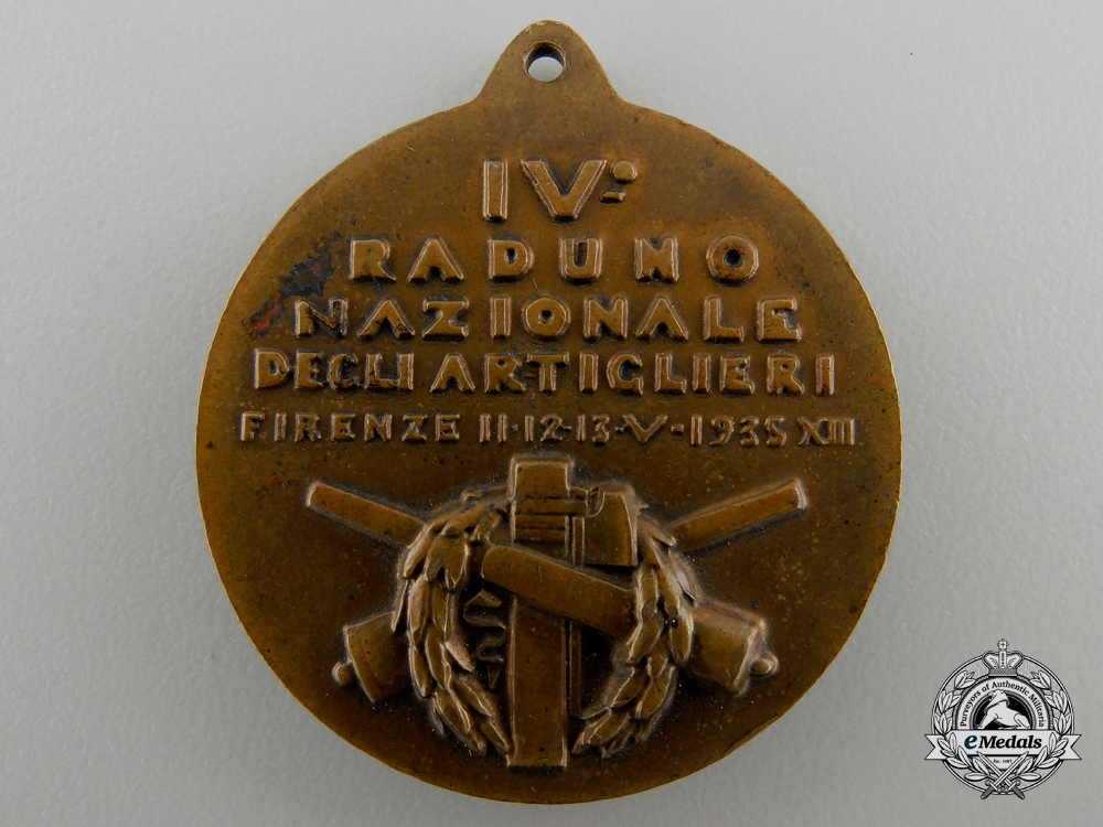 A 1935 Fourth National Meeting of Italian Artillery Gunners at Florence Medal
