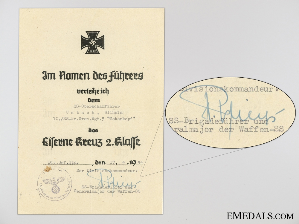 Four Award Documents to the SS-Pz. Gren.Rgt.5. Totenkopf