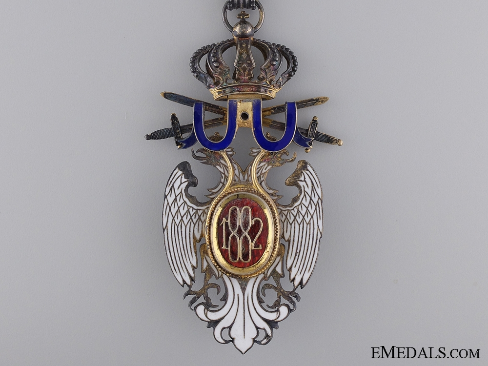 A Serbian Order of the White Eagle with Swords; Neck badge Third Class
