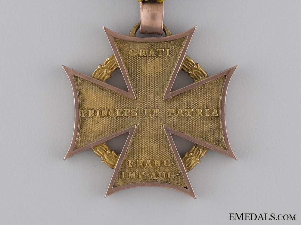 A Scarce 1813-14 Austrian Army Cross with Gold Rim & Loop