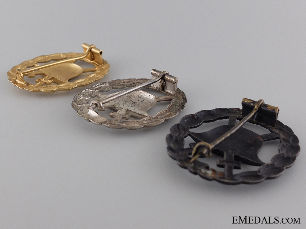 Three WWI Imperial German Wound Badges