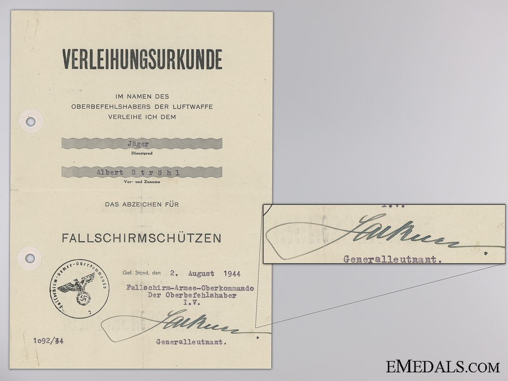 Three Award Documents to the 2nd Fallschirmj¡_ger Korps